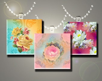 Lovely Flowers- INSTANT DOWNLOAD- Printable Collage Sheet - 1 inch square images  for Glass Pendants, Magnets and More.