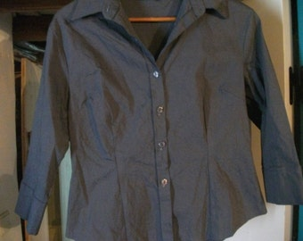 BODY CON SHIRT, classic, stretchy, London, 90s, size M, blue