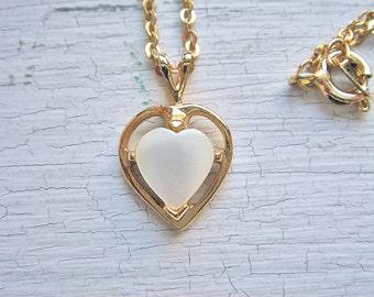 Vintage Opalescent White Heart Pendant Necklace
