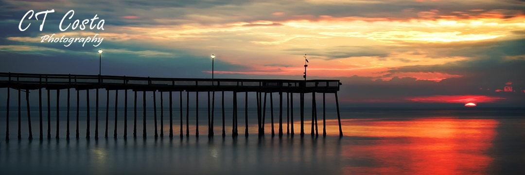 Ocean city fishing pier panoramic sunrise maryland beach for Ocean city md fishing pier