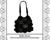 "Paillette Faux Leather/Suede Purse PDF Sewing Pattern with zipper, shoulder straps, lined ""Bella"""