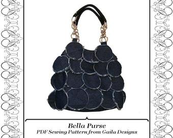 "Paillette Denim Purse PDF Sewing Pattern with zipper, shoulder straps, lined ""Bella"""