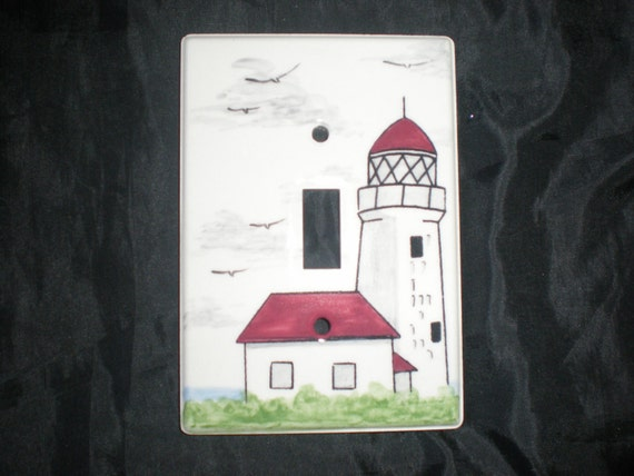 Ceramic lighthouse switch plates by reevehandpaintedtile for Lighthouse switch plates