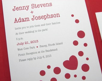Quirky Wedding Invitation Red Pocketfold Red Heart Polka-Dots Modern Bold Contemporary Casual Custom Invite Red Linen Pocket