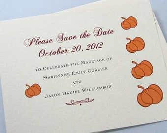 Fall Save the Date Card Orange Pumpkins Autumn Wedding Custom Fall Colors Recycled Rusty Red Brown