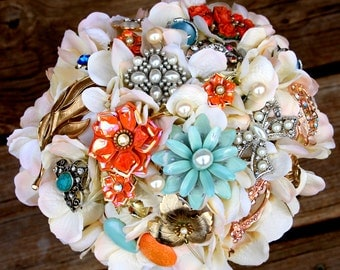Brooch Bouquet vintage Coral green ivory brooch bouquet lace etsy wedding, Deposit only