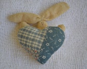Primitive Bunny Rabbit Doll Brooch With Blue Homespun Heart Sale