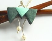 Geometric Necklace, Mint and Teal, Sterling Silver