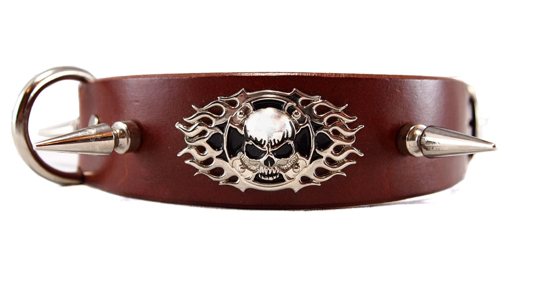 Leather Skull Dog Collar