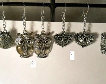 Owl earrings on chain, metal