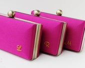 Bridesmaid clutch set embroidered,  personalized solid Cerise clutch set, spring wedding clutches, Bridesmaid Set of 3 Cerise, Minaudieres