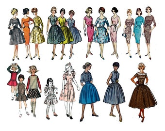 """Clear stamps large sheet (7""""x10"""") Vintage Fashion Girl Fifties FLONZ 403-35"""