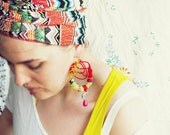 Statement tribal chunky african textiles, fabric earrings ''Wild, moving like she's nice'' - gabriel87