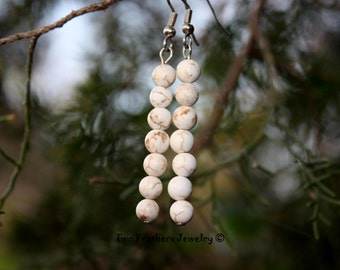 Magnesite Earrings - Beaded Earrings - Natural Magnesite - Gift For Her - White Stone Earrings - 7 Stone Earrings - Two Feathers Jewelry