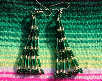 Green And Gold Tribal Style Hand Beaded Earrings - Native Style - Green Earrings - Gold Earrings - Gift For Her - St Patricks Day