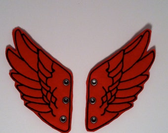 Bold Red and Black Percy Jackson Inspired Shoe Wings  Now offered with Eyelets