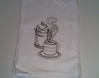 Tea and Coffee Tea Towels Flour Sack Towels with Vintage Embroidery Mother's Day Gift