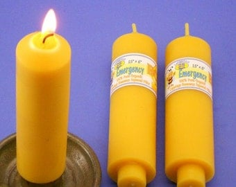 Pair of Beeswax Emergency Candles, 1.5 x 6 Carriage Candles, Beeswax Candle Tapers, Perfect Candles For Power Outage, Pure Beeswax Candles
