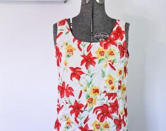 Floral Bow Back Tank Vintage Sleeveless Blouse