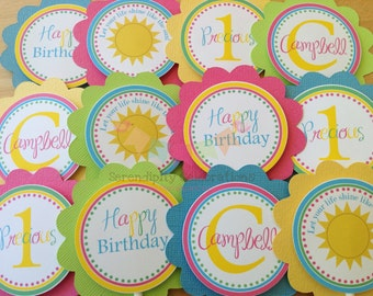 Set of 12 Personalized Cupcake Toppers -Sunshine Collection -Sunshine Birthday -Sun Party -Sun