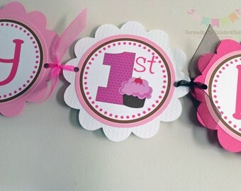 Pink and Brown Cherry Cupcake Birthday Banner, Happy Birthday Cupcake Banner, Birthday Banner, 1st Birthday, Cupcake Party