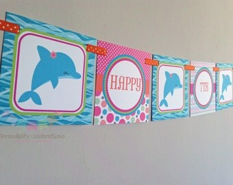 BRIGHT Dolphin Happy Birthday Word Banner -Square Banner -Dolphin Birthday Banner -Dolphin Party
