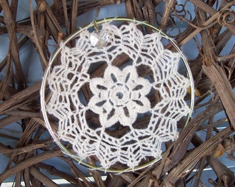 5 inch Eye-catching crochet window hanging with small crystal