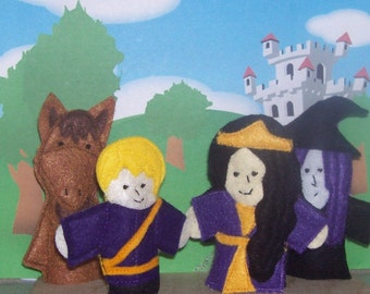 The story of Rapunzel set of 4 Original Felt Finger Puppets for Imaginative Play and Learning