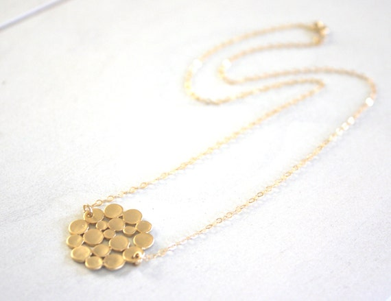 Gold Necklace, Gold Bubble Necklace, Circle Necklace, Dainty Gold Necklace, Bridesmaid Necklace, Gifts for Her, Christmas Gifts
