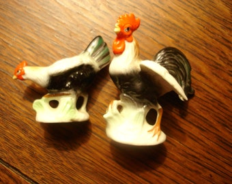 2 miniature, rooster and hen ceramic figurines
