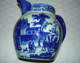 Antique, Blue and white, English, transferware, pitcher