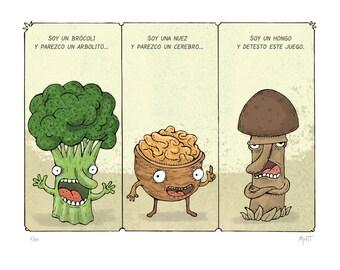 Broccoli, walnut and mushroom