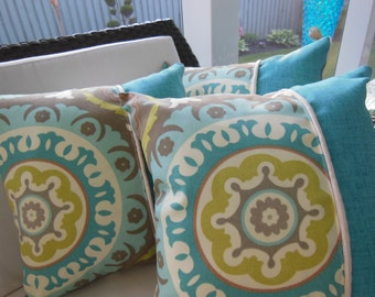 Teal Pillow - Suzani Decorative Pillow - Poolside Suzani Flair Designer Pillow - Reversible 15 x 15 Inch Pillow - Teal, Cream and Beige