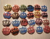 24 Polkadot Victorian Altered Art Crown Tiara Royal Pinback Button Brooch Set