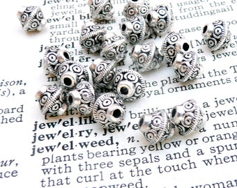 Tibetan silver bead, bicone  bead, antique silver bead, 15 pcs