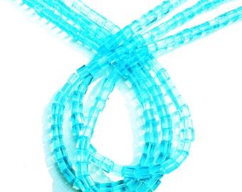 aqua glass beads,  cube, aqua blue bead cube, 4mm bead strand, 3 strands over 250 beads