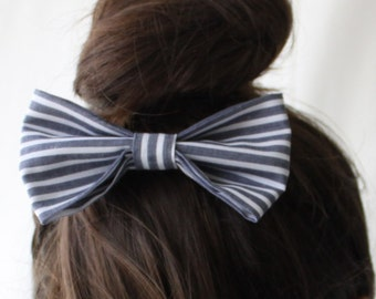 Large Fabric Hair Bow Nautical Stripe - Hair Clip