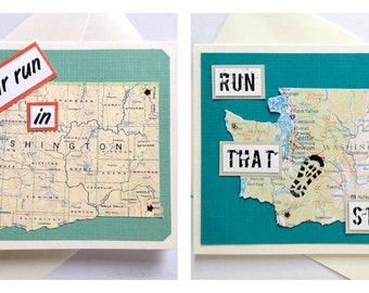 Washington State - Run (or RAN) That State or Enjoy Your Run Handmade Running Greeting Card for Marathon, Half-Marathon, 10K, 5K Runners