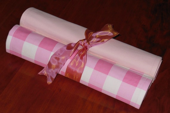 Tabletop Cottage Chic Cloth Placemats Pink Gingham Check Set of 6