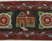 "Rug Hooking Pattern, House and Flowers, 20"" x 42"", J610"