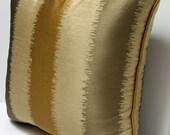 Custom Order for Sharyn   Ikat Stripe - Designer Pillow Cover -  18 inch - Silk - Gold - Tan -
