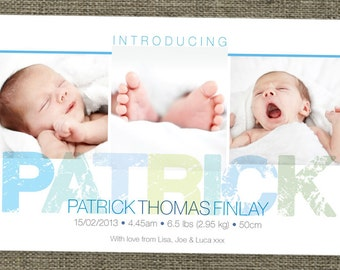 Introducing baby birth announcement photo cards. Multi Picture Photo card. Printable.