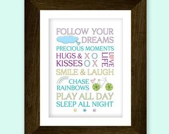 Beautiful sayings nursery art printable. For baby girl or baby boy. Download Today.