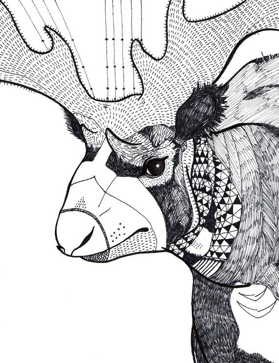 Sivatherium, Extinct Animal Art Print - Illustration Fine Art