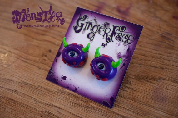 Monster Eyeball Stud Earrings with Horns