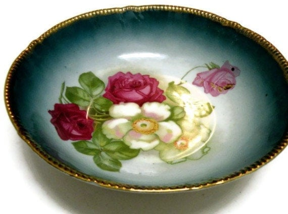 Antique Collectibles Porcelain Glass Bowl, Flowered Pink Roses, Gold Trim, Turquoise Color