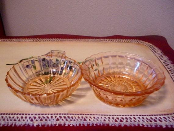 RESERVED for Sara / Pink depression glass bowls