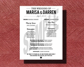 Custom Designed Wedding Program, Wedding Reception Program, Printable Wedding Program, Modern Wedding Reception Program, Printable Program
