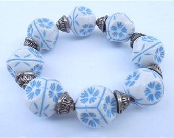 Vintage Blue White Bracelet White Blue Bracelet Textured Bracelet Snowflake Bracelet Chunky Bead Bracelet Oversized Bead Bracelet Beaded