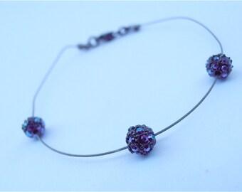 Vintage Thin Silver Bracelet Vintage Blue Aurora Borealis Bracelet Vintage Thin Bracelet Monet Silver Tone Bracelet Crystal Ball Bracelet